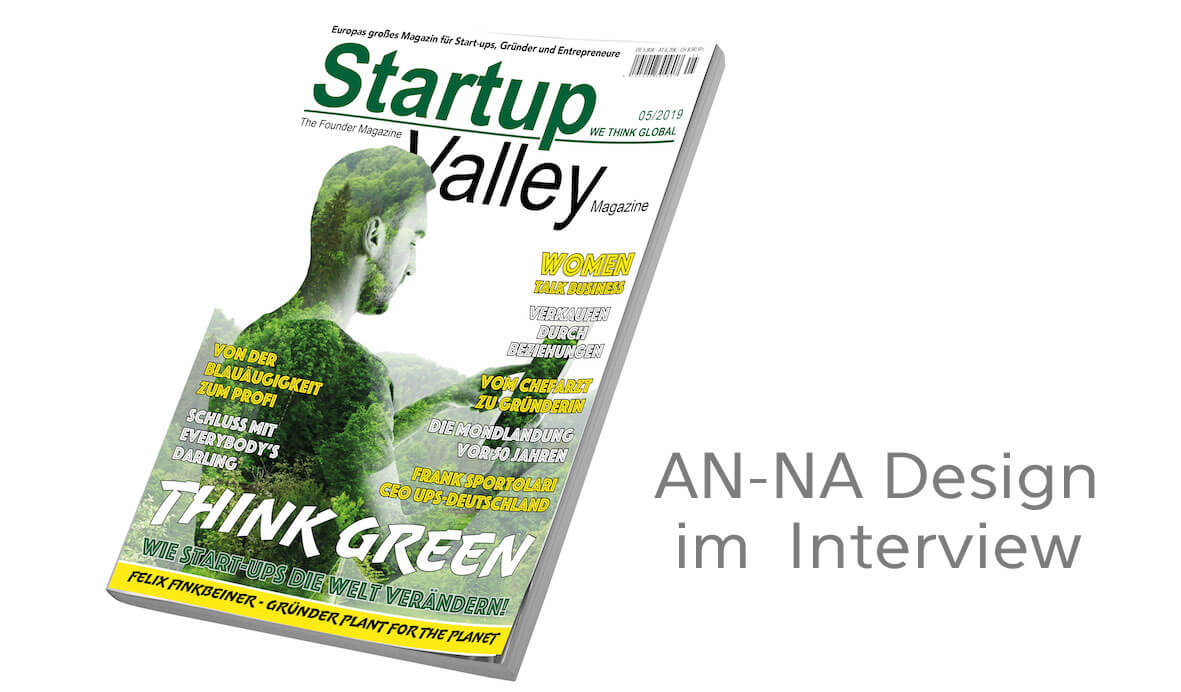 Interview mit AN-NA Design im Magazin StartupValley, 11/2019
