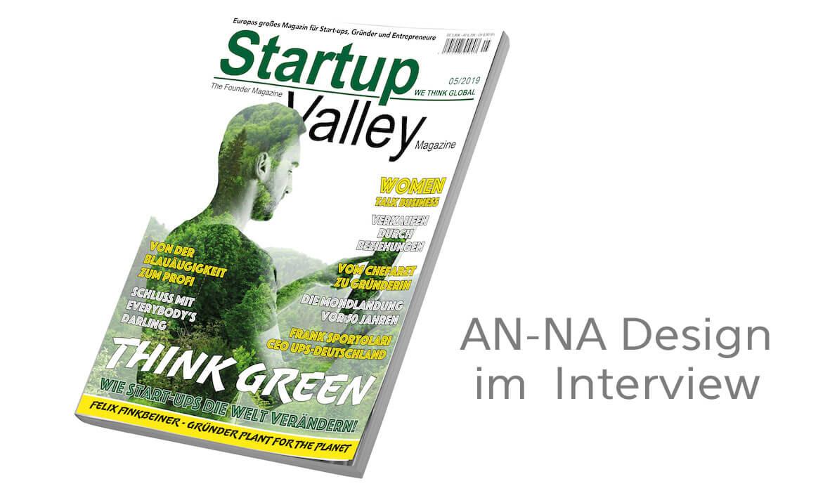 Interview mit AN-NA Design im Magazin StartupValley, 11/2019