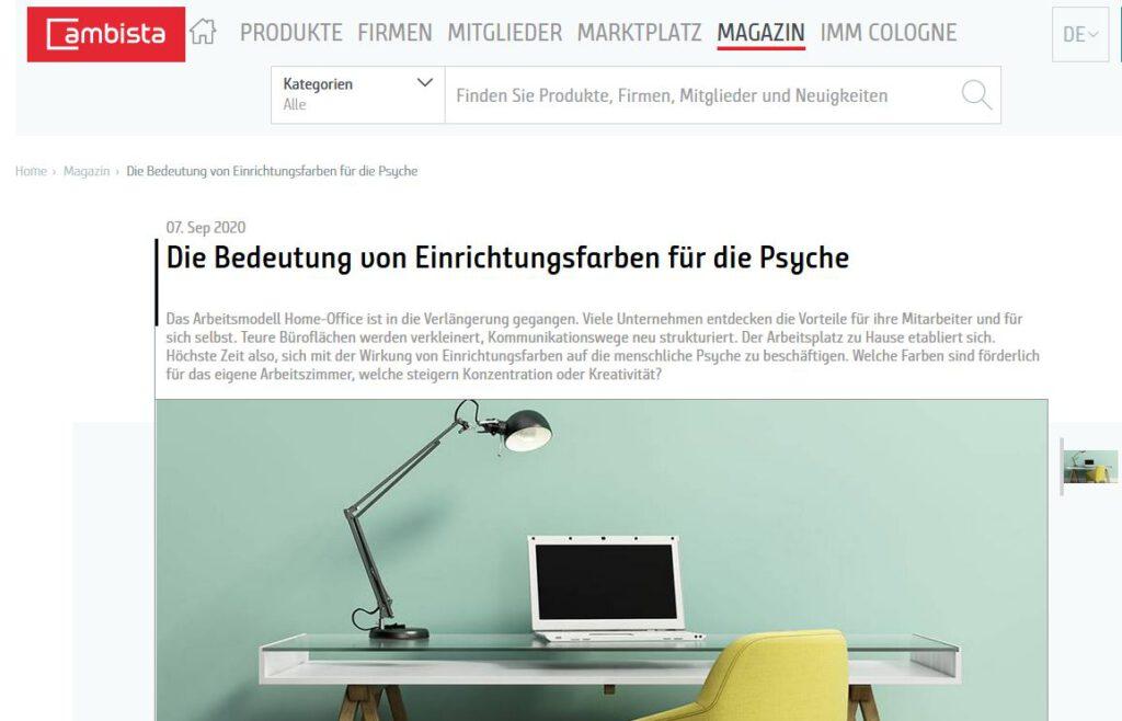AN-NA Design im Ambista Magazin der Kölnmesse
