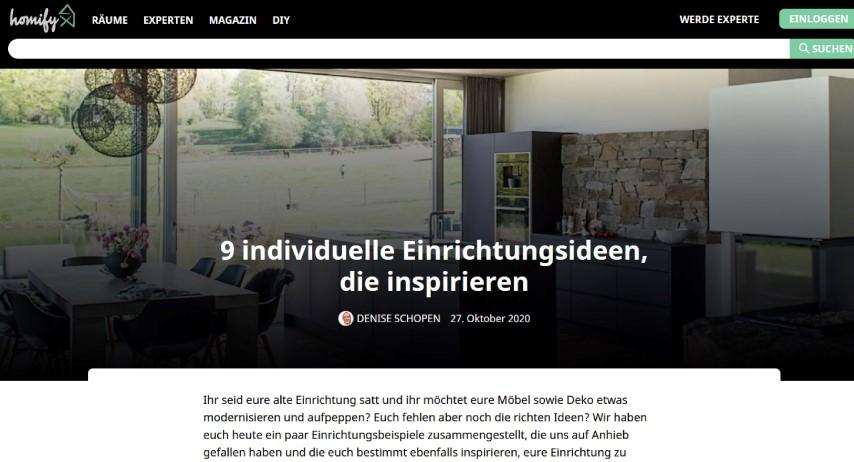Homify Magazin über unser Wanddesign
